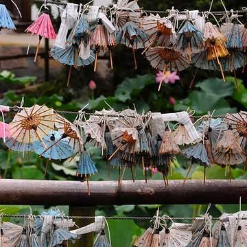 和傘のおみくじat當麻寺